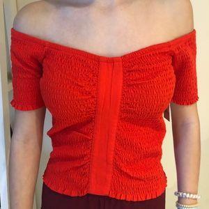 Red Nordstrom Off-the-Shoulder Shirt